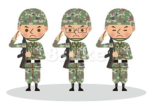 イラスト素材:銃を担いで敬礼する自衛官・軍人/3人(ベクター・JPG)