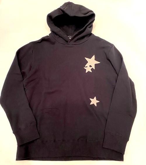 Star Patchwork Pullover Parka Black