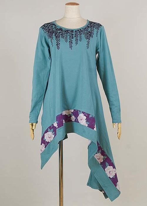 gouk 藤の花をプリントした裾がアシンメトリーで長めな丈のトップス 緑青 GGD27-T033 BL/M