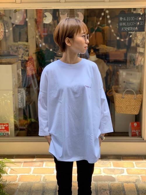 WOMENS:LE MELANGE【ル・メランジュ】ソフトジャージーコットン七分袖プリントTシャツ(WHITE/FREEサイズ)