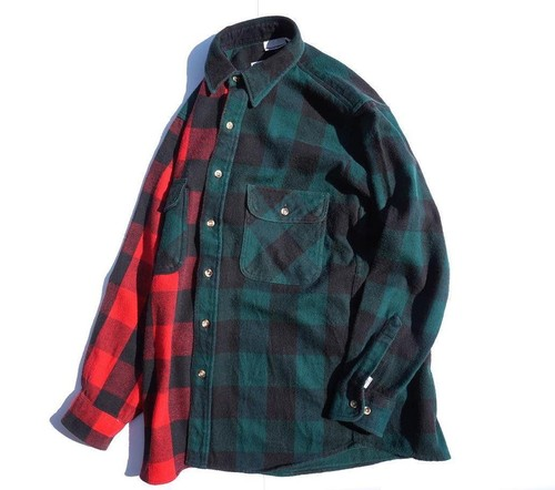"Magfacture ""UNION FLANNEL SHIRT"" GREEN×RED size:M"
