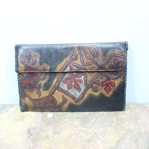 .RETRO LEATHER CLUTCH BAG/レトロ古着レザークラッチバッグ 2000000032863