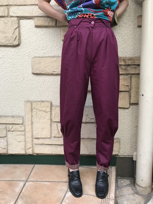 80s purple × plaid pants