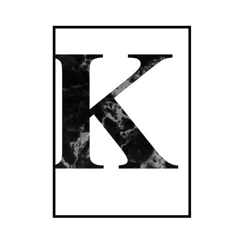 """K"" 黒大理石 - Black marble - ALPHAシリーズ [SD-000512] B4サイズ ポスター単品"