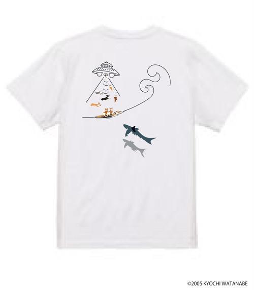 No.2021-Autumn-TS-007 :  2021秋の新デザイン UFOかサメかどっちを選ぶ?Tシャツ5.6oz