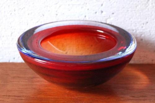 60年代~70年代 イタリア・ムラーノ ベネチアン・グラス 小物入れ ガラスボウル レッド×ブルー