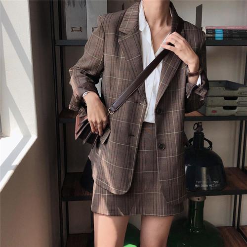 【セットアップ】【単品注文】chic通勤韓国風カジュアルチェック柄アウター/スカート2点セット23270818