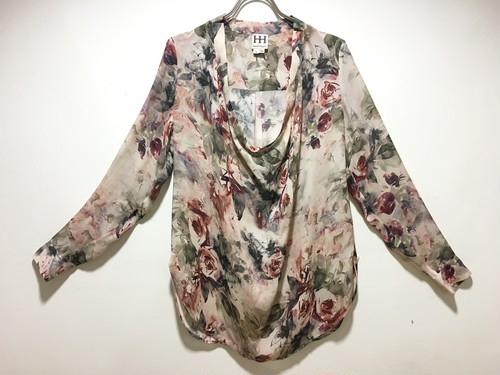 Flower drape long-sleeve tops