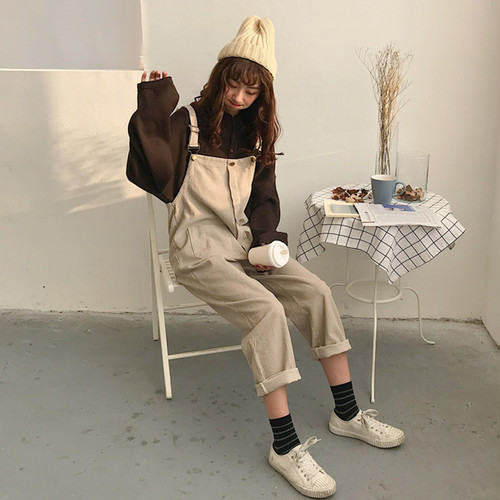 【送料無料】ゆるカワ ♡コーデュロイ オーバーオール♪ サロペットパンツ  バルーンパンツ 3色