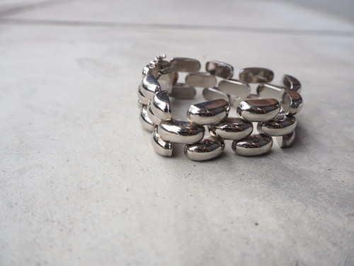 〈vintages silver925〉puffy link chain bracelet
