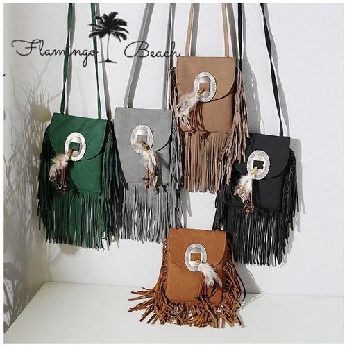 【FlamingoBeach】small fringe bag