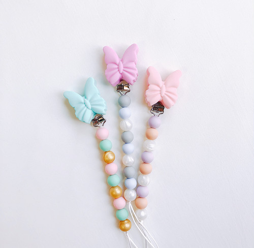 Silicone pacifier clips〔butterfly〕