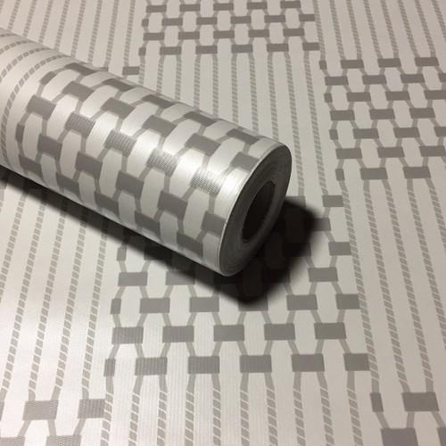 RUDOSTYLE 壁紙 ジオメトリック 幾何学模様 クロス はがせる 防水 壁紙シール 超簡単リフォーム 45cm×10m (ジオメトリック ライトグレー)