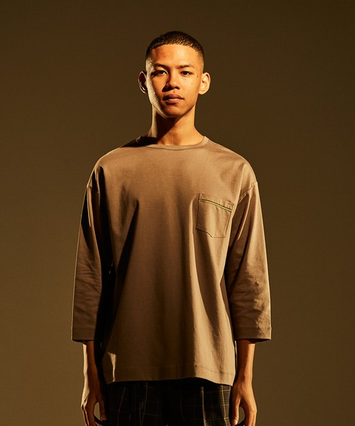3/4 Sleeve Pocket Tee -gray beige <LSD-BJ1T9>