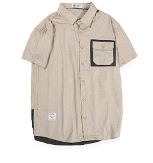 送料無料夏コーデメンズ大きいサイズバイカラー半袖ベージュシャツ