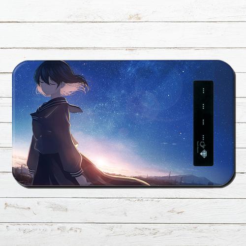 #048-008 モバイルバッテリー おすすめ iPhone Android かわいい おしゃれ 男性 向け 女の子 イラスト スマホ 充電器 タイトル:星に揺られて 作:みふる