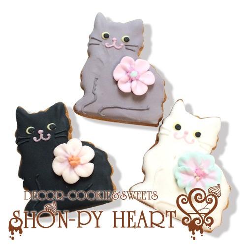 【期間限定セール336円】ねこちゃんのアイシングクッキー SHON-PY HEART 結婚式プチギフト