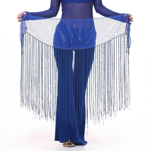ベリーダンス新しいスタイルのベリーダンス衣装メッシュスパンコールロングタッセルベリーダンスヒップスカーフ女性のベリーダンスベルト