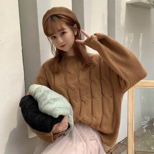 【トップス】韓国系長袖無地ラウンドネックニットセーター