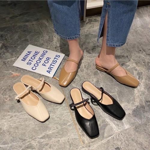 レディース ミュール サンダル パンプス かかとなし 甲ベルト スクエアトゥ ローヒール 春夏 履きやすい 合皮 革 柔らかい オフィスカジュアル きれいめ 美脚 脚長 韓国
