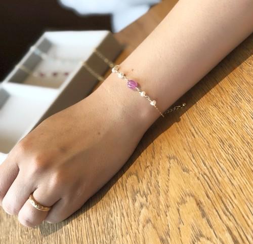 【14kgf】ピンクサファイアと淡水パールのブレスレット