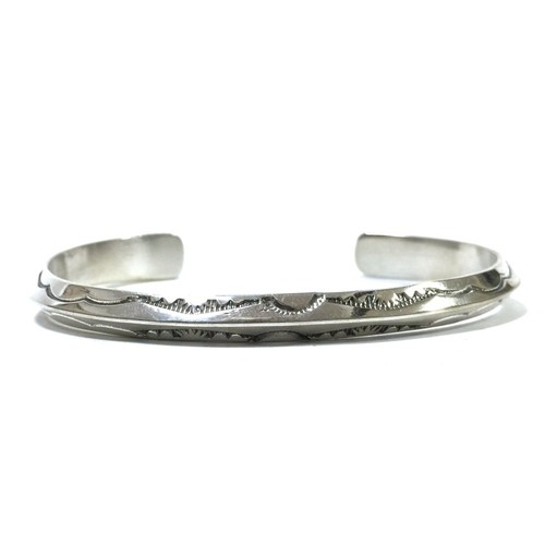 Navajo Vintage Sterling Silver Triangle Wire Stamp Bangle by Tahe