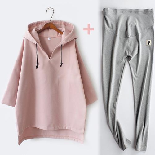 マタニティ 新しい秋のコート 長袖 セータードレス +パンツ