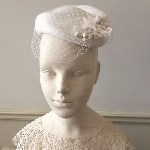 vintage布花のトーク帽