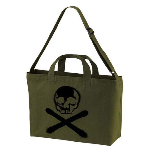 RAKUGAKI Stencil Skull Logo Shoulder Bag Army Green