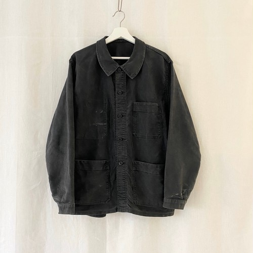 FRANCE 60s〜vintage black moleskin work jacket(coverall)