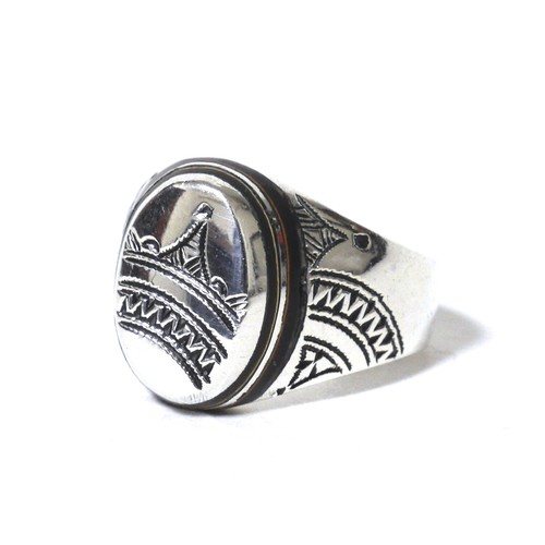 African Tuareg Silver & Ebony Wood Ring