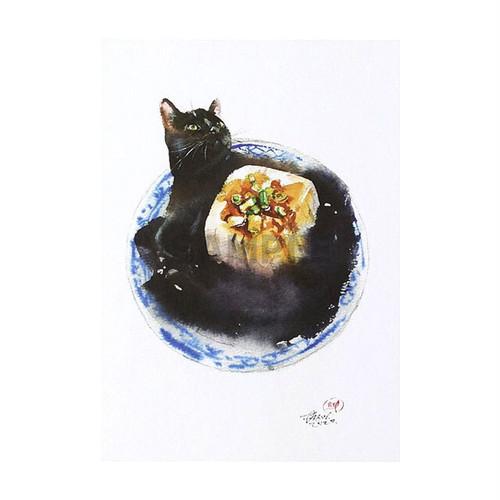 台湾ポストカード 水彩猫「不要吃我豆腐」