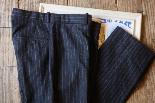 00's Ralph Lauren charcoal striped wool Pants