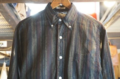 "50's Royalty striped cotton B.D.Shirt ""GREEN"""