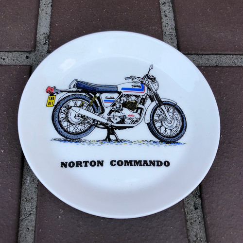 Norton Commando Motorcycle Small Plate Bone China England