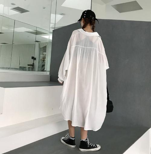 【送料無料】透け感が可愛い♡シアーロングシャツ