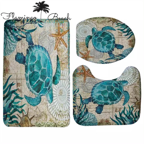 【FlamingoBeach】turtle bathroom mat set