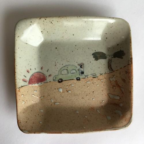 夏のサンセット-正方形皿