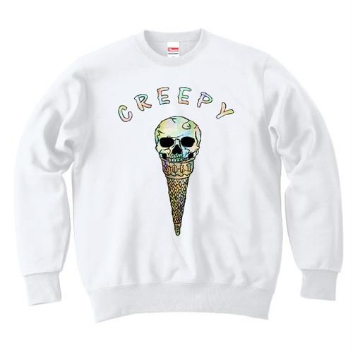 [カジュアルスウェット] Creepy ice cream / white