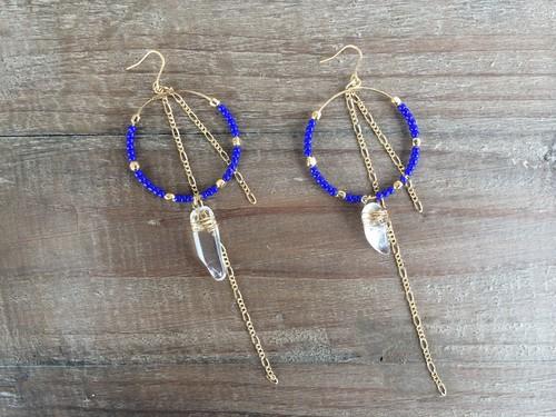 Blue beads×crystal hoops