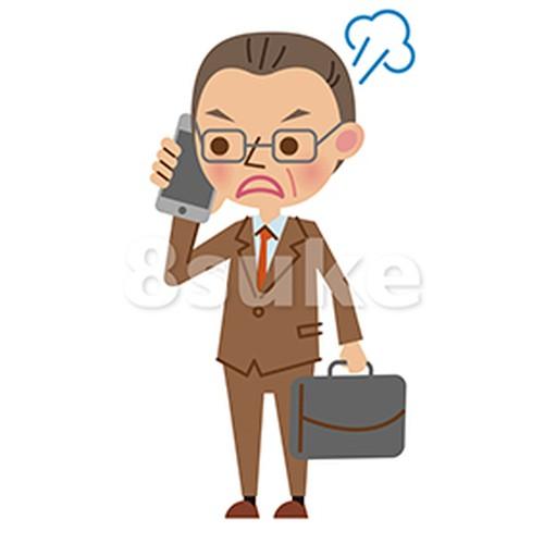 イラスト素材:スマートフォンで通話する中年のビジネスマン/怒った表情(ベクター・JPG)