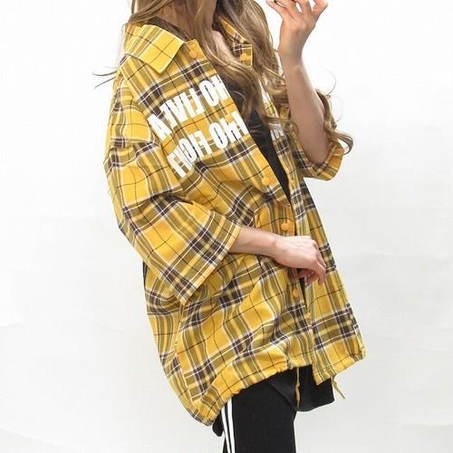 チェック柄 バクプリ Frontロゴ BIGシャツ オーバーサイズ