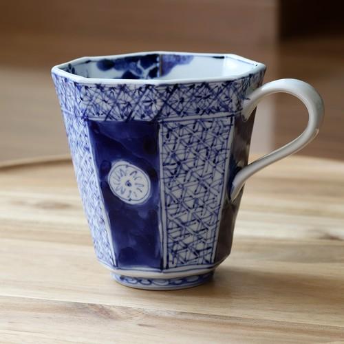 松尾貞一郎 染付地紋山水 八角マグカップ 210204-K25 貞土窯(有田焼)