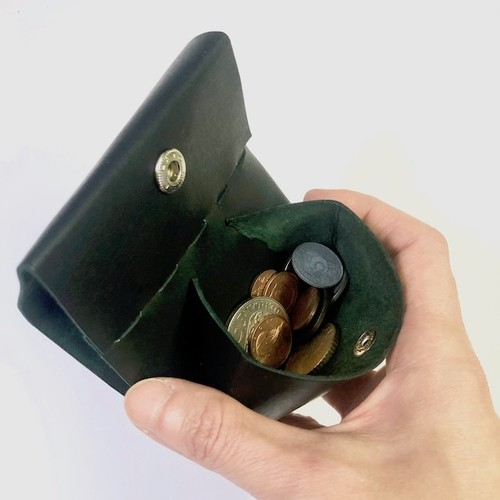 コンパクトコインケース  グリーン/イタリアンカーフ