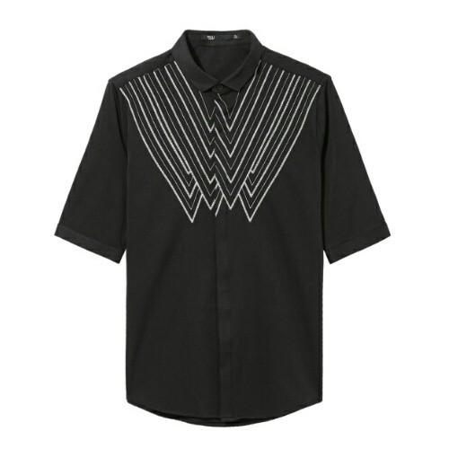 袖五分丈ワイシャツ刺繍でアレンジ2色メンズ送料無料