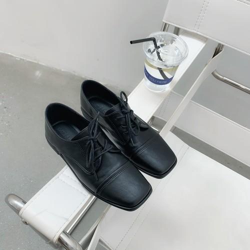 スクエアトゥおじ靴 革靴 オックスフォード おじ靴 マニッシュ 柔らかい スクエアトゥ レースアップ 合皮 革 黒 ブラック 茶 ブラウン カジュアル 韓国