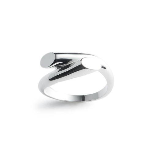 Cut cross silver ring