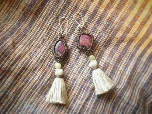 Ruby in Zoisite Macrame Earrings