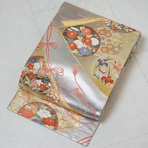 唐織り 振袖 袋帯  簪 組紐 金銀糸 金銀箔 シルバー 190