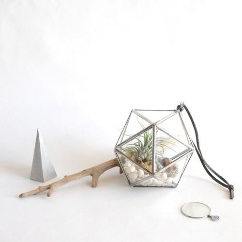 "hanging terrarium ""正二十面体"" / silver [エアプランツ]"